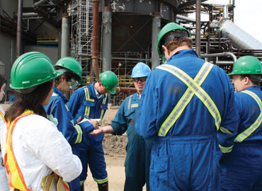 Industry employees discuss safety practices
