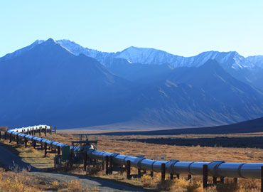 Pipelines delivering product in Alaska