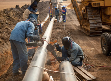 Worker during pipeline construction